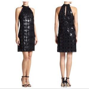 NWT Laundry Shelli Segal black sequin LBD dress